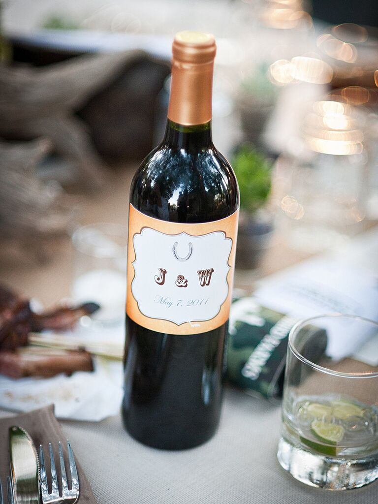 Customized wine bottle labels for a vineyard wedding idea