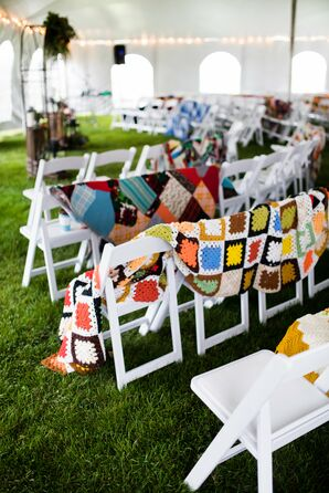 Folding Chairs with Crochet Throw Blankets for Guests