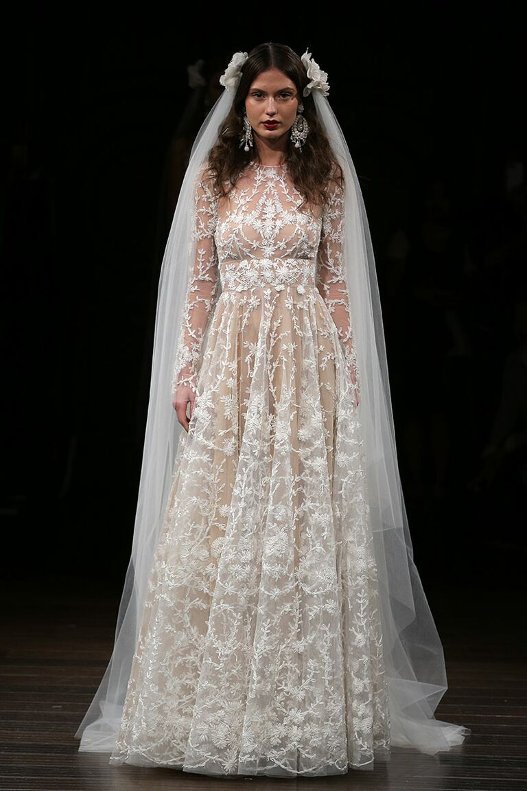 Lovely Naeem Khan Fall 2017 Embroidered Long Sleeve Floral Wedding Dress