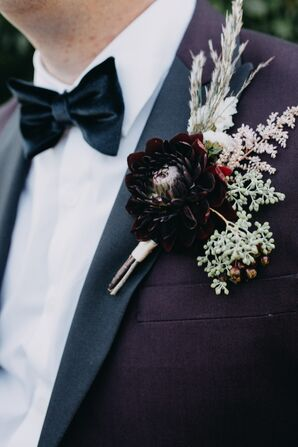 Dramatic Burgundy Dahlia and Eucalyptus Boutonniere