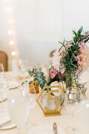 Gold Hexagon Table Number