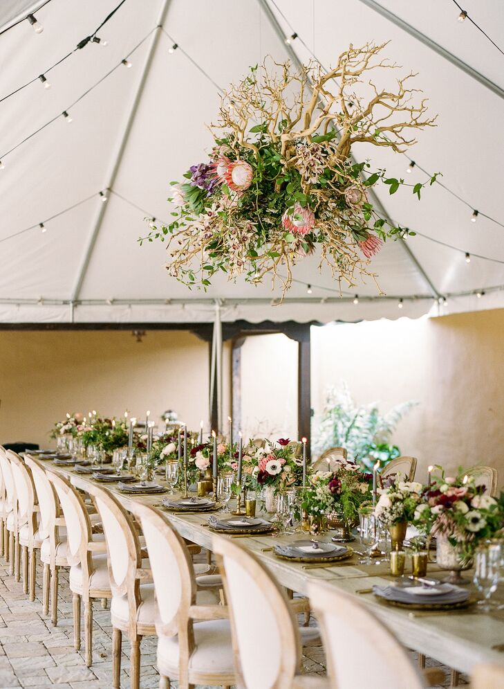 Tented Reception with Wood and Floral Chandelier Installation