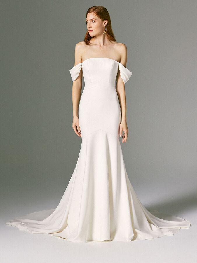 Savannah Miller strapless trumpet crepe wedding dress