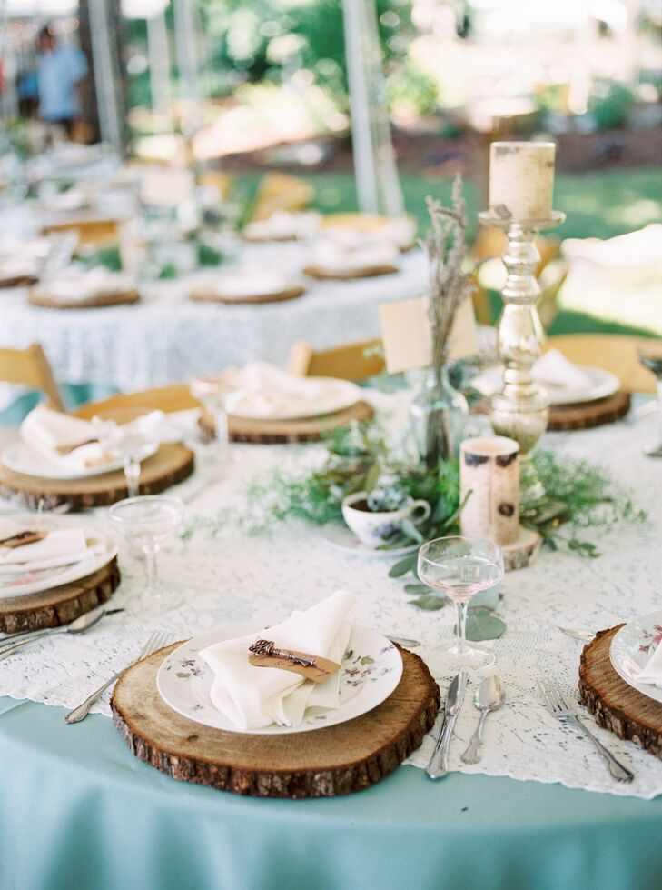 Rustic Wood Chargers and Simple Greenery Centerpiece