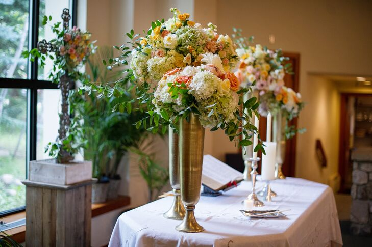 Wildflower-Filled Tall Gold Vase Altar Decor