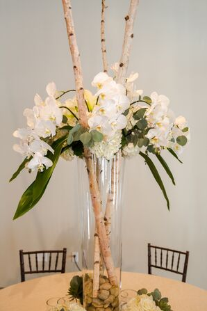 Tall Orchid and Birch Centerpieces