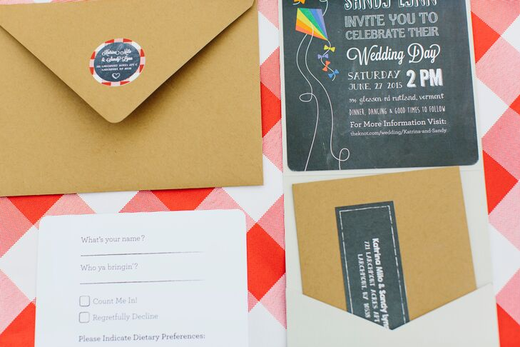 Katrina's sister, a graphic designer, created their wedding invitations.
