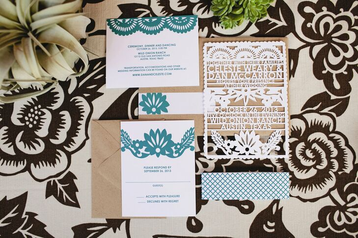 """I loved our invitations,"" Celeste recalls. ""I knew from the start I didn't want traditional invites, and when I found Avie Designs and her amazing laser-cut stationery, I couldn't look at anything else. They are like little pieces of art!"""