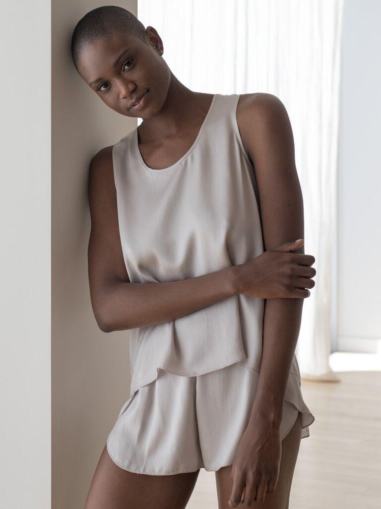 Silk pajama set bridesmaid gift idea