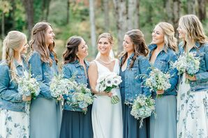 Whimsical Bridesmaids with Mismatched Blue Dresses and Denim Jackets