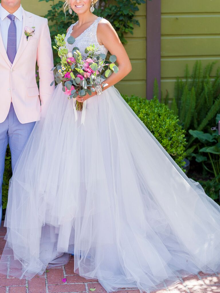 Light Blue A Line Wedding Gown By Lazaro