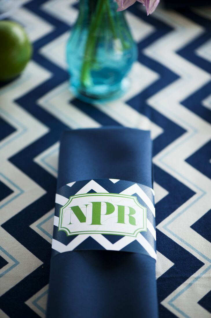Navy and Green Chevron Reception Decor