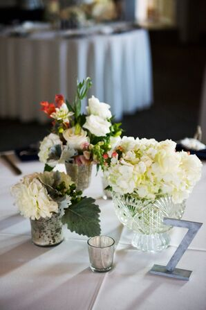 Ivory Flowers and Candle Centerpieces