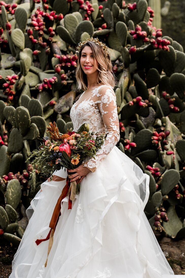 Glamorous Bride with Flower Crown, Bouquet and Long-Sleeved Ball Gown