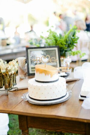 Small White, Gold and Black Wedding Cake in Springfield, Missouri