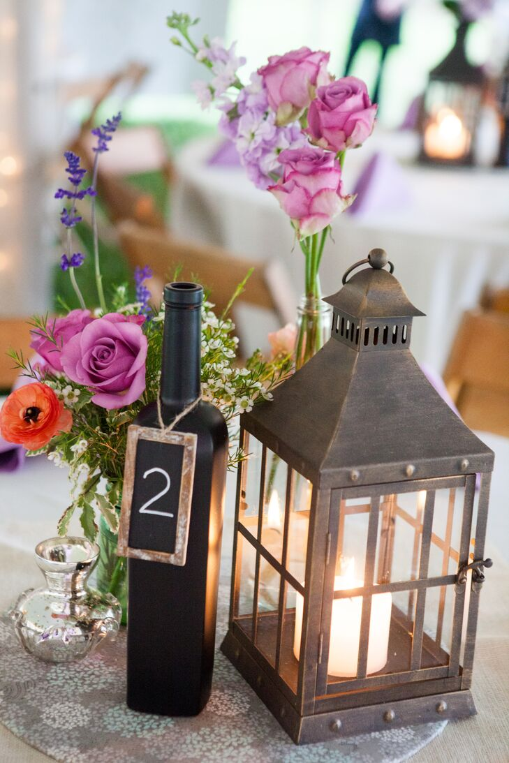 Lantern and Chalkboard Wine-Bottle Centerpieces
