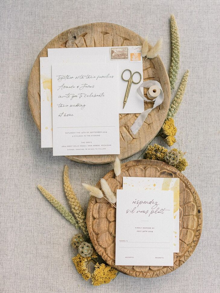 Elegant White-and-Yellow Invitations for Michigan Wedding