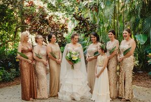 Elegant Bride and Bridesmaids with Gold Sparkly Dresses