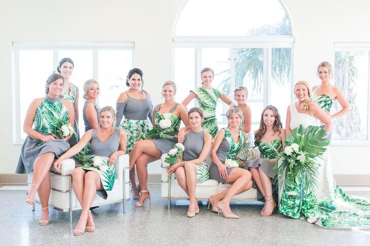 Gray and Tropical Print Bridesmaid Dresses