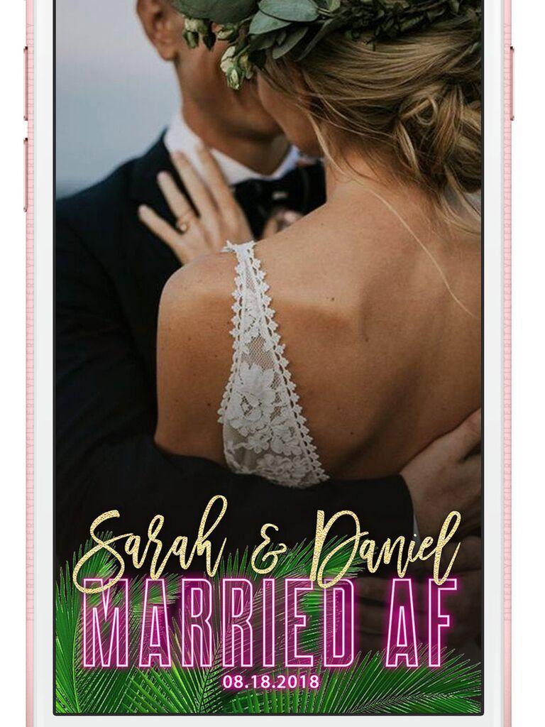 Tropical neon sign custom wedding Snapchat filter