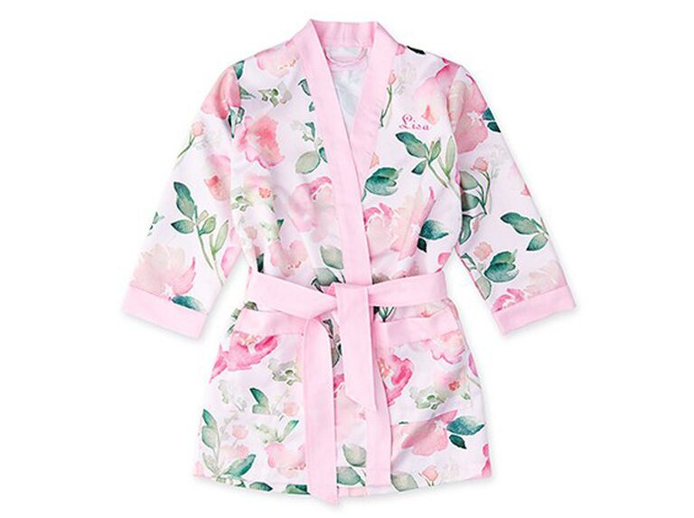The Knot Shop pink floral satin flower girl robe