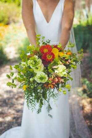 Bohemian Poppy, Ranunculus and Mixed Greenery Bouquet