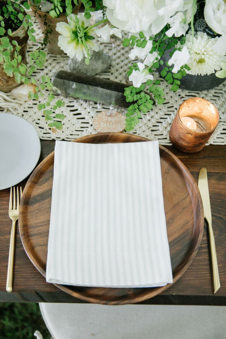 Striped Linen on Wood Charger with Gold Flatware