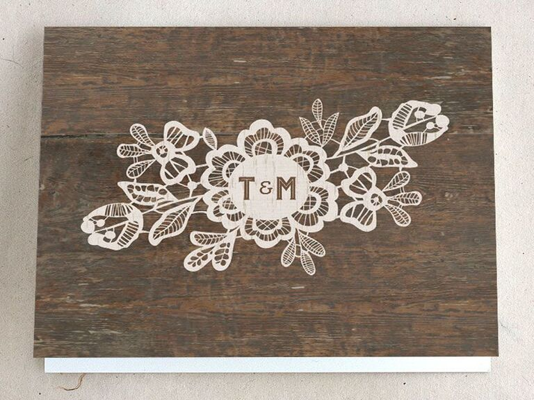 wedding thank-you card with woodgrain background
