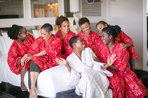 Bride and Bridesmaids Getting Ready in Red Robes