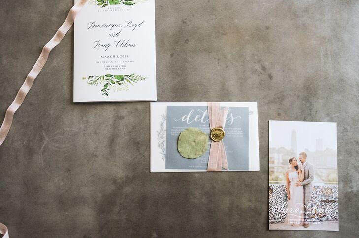 Romantic, Wax-Sealed Invitations with Leaf Motif