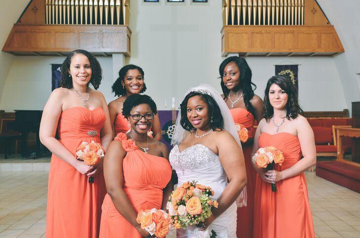 Bright, Orange Bridesmaid Dresses