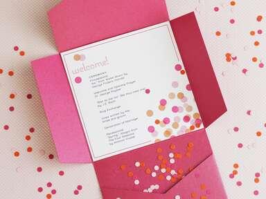 DIY wedding ceremony program with confetti toss envelope