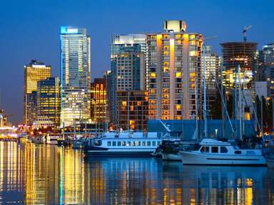 Vancouver, Canada skyline at night