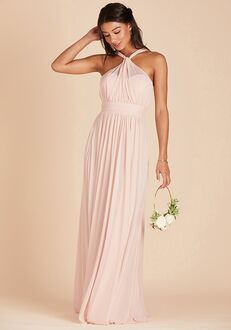 Birdy Grey Kiko Mesh Dress in Pale Blush Halter Bridesmaid Dress