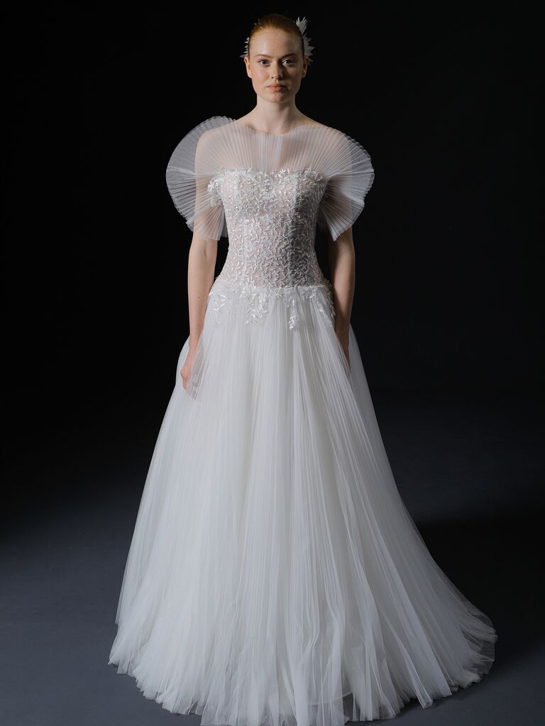 Isabelle Armstrong Spring 2020 Bridal Collection pleated A-line wedding dress with dramatic neckline detail