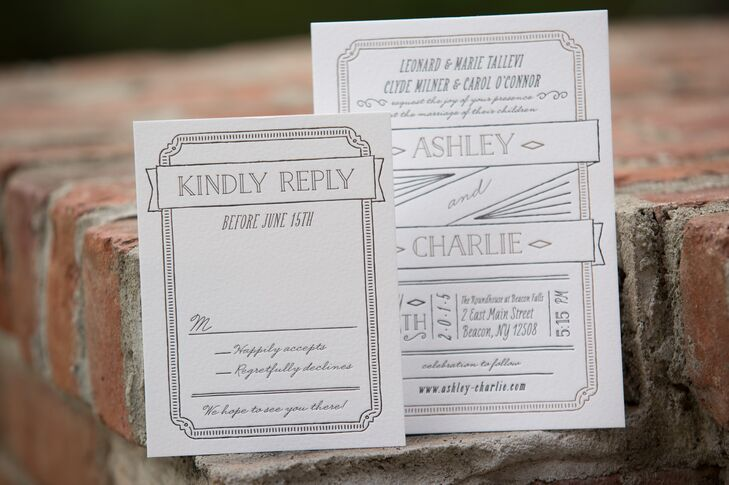 Inspired by Ashley's Jenny Packham wedding gown, the couple adopted an art deco theme for their midsummer fete. To communicate the style of the soiree to come, Ashley and Charlie chose the perfect art deco-inspired invitation suite, complete with metallic ink and letterpress details, from Minted.com.
