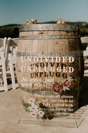 Unplugged Wedding Ceremony Sign at Tin Roof Barn in White Salmon, Washington
