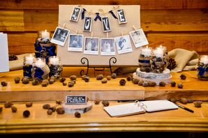 Rustic Pinecone Decorated Guest Book Table