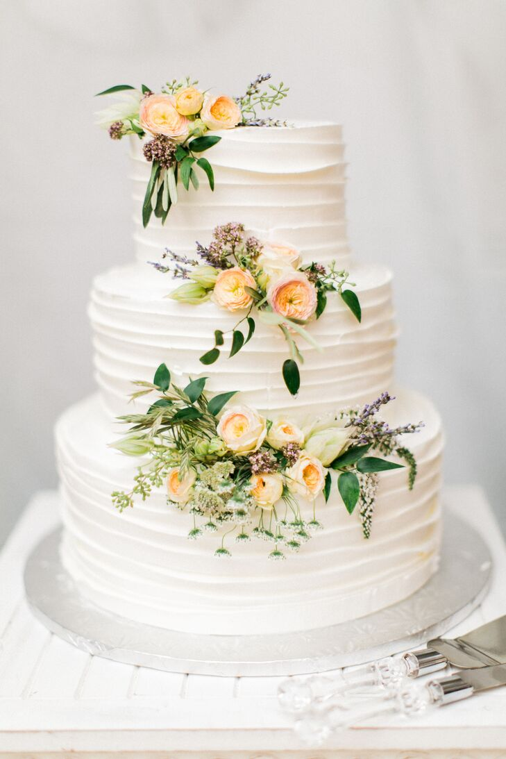 Ruffled Buttercream Cake with Fresh Flowers