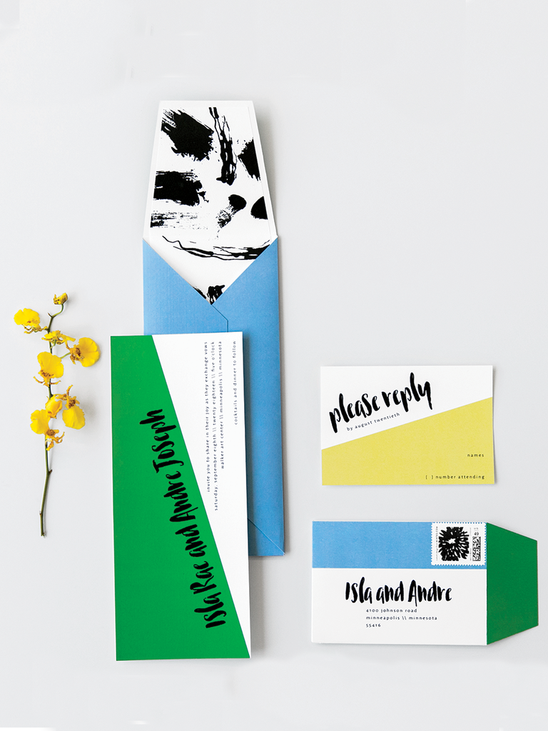 modern colorful geometric wedding invitations