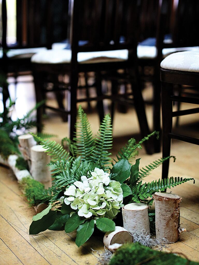 Rustic Wedding Ceremony Aisle Decor With Birch Logs