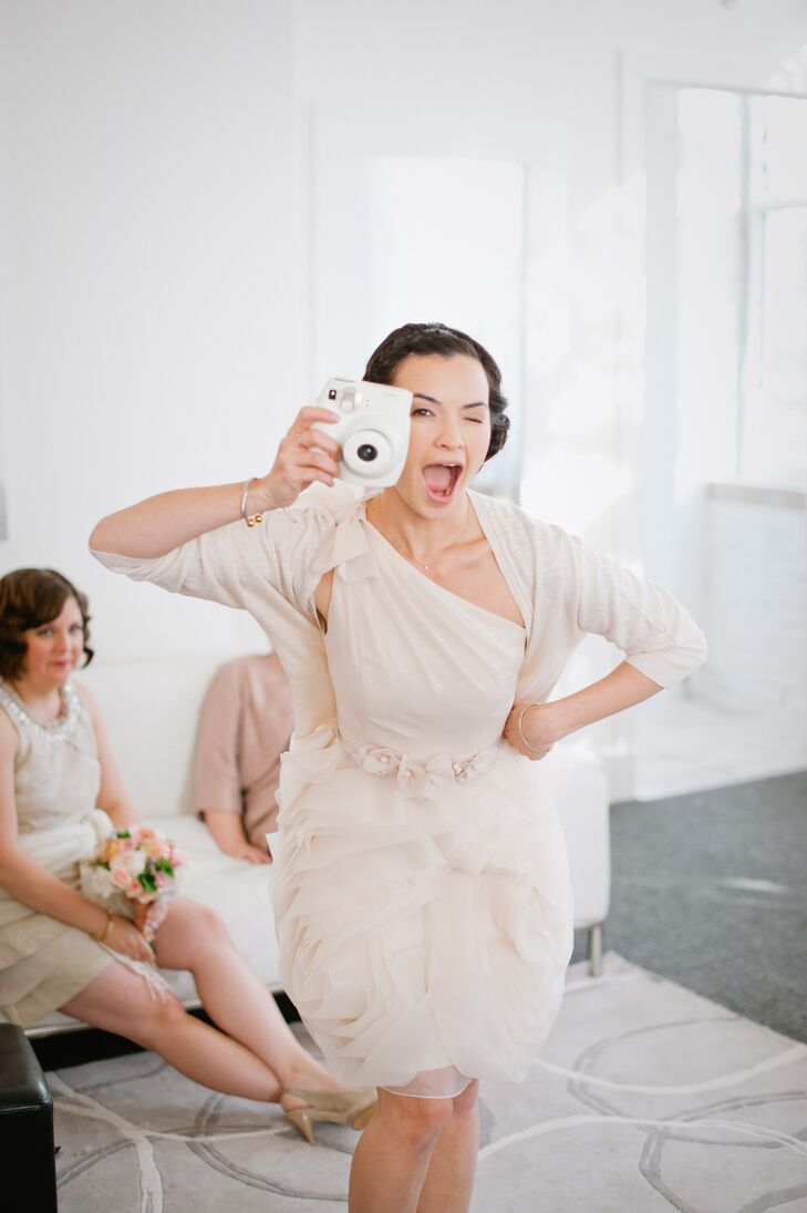 """It was really important to me that my bridesmaids felt comfy, confident and like themselves in their dresses,"" says Annie. ""So I gave them a color palette to work with and some other guidelines and asked them to select their own dresses. They all looked beautiful and, most importantly, I think the dresses really reflected their respective personalities and styles."" To make sure there was a spectrum of hues, Annie asked the girls to send photos of their dresses as soon as they found it, so that she could then notify the rest of the group, allowing them to steer clear of that particular color."