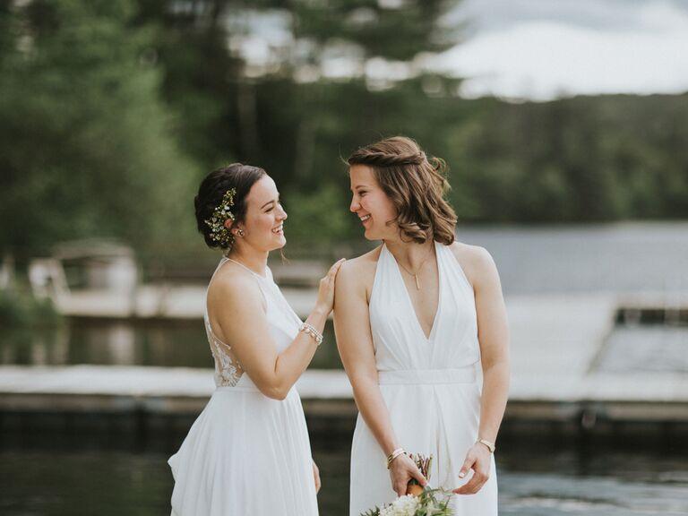 Same sex brides on wedding day