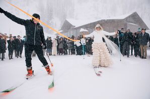 Nontraditional Snowy Recessional on Skis