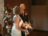 couple alzheimers wedding groom and bride kiss