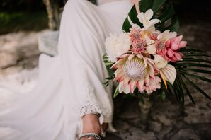 Romantic Pink and Ivory Tropical Bouquet