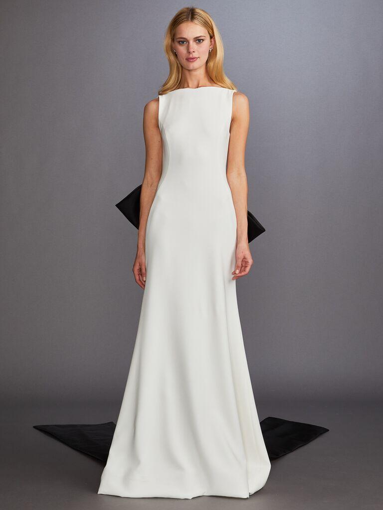 Allison Webb Fall 2019 Bridal Collection modern wedding dress with a high neckline