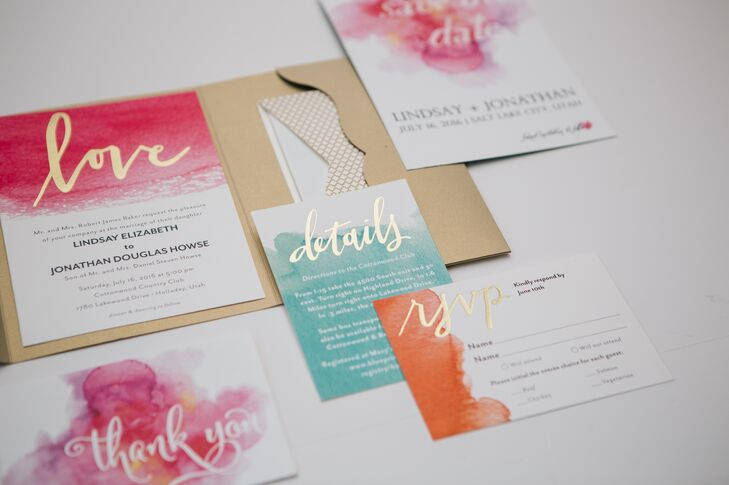 Wedding Paper Divas helped design Lindsay and Jonathan's watercolor-inspired invitation suite and name cards.