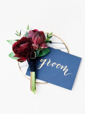 Classic Burgundy Boutonniere Wrapped in Dark Blue Velvet