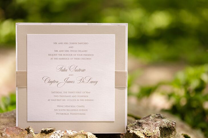 Sophisticated Invitations in Champagne and White